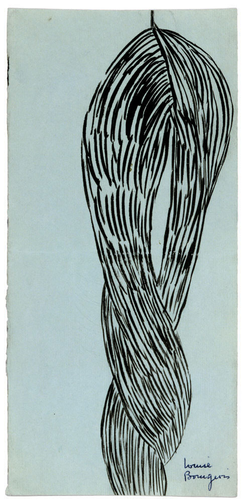 Untitled , 1950, ink on blue paper, 21.6 x 10.2 cm Ph Christopher Burke © The Easton Foundation/SIAE