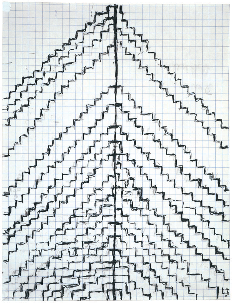 Untitled , 2002, ink and pencil on graph paper, 27.9 x 21.6 cm Ph Christopher Burke © The Easton Foundation/SIAE