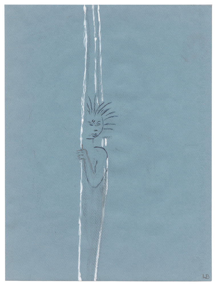 Untitled , 2002, pencil, ink, charcoal, whiteout on blue paper, 32.1 x 24.1 cm Ph Christopher Burke © The Easton Foundation/SIAE