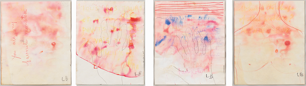 You Are My Favorite Monster , 2005, a sequenced, indivisible suite of 4 double sided drawings, recto: watercolor, ink, colored pencil and pencil on paper, each: 24.1 x 20.3 cm  Ph Christopher Burke © The Easton Foundation/SIAE