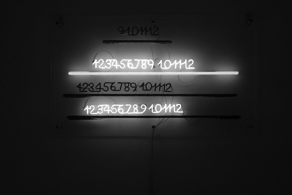 914 light - blacklight , 2002, neon cm 140x70x15 site specific, MuHKA Museum