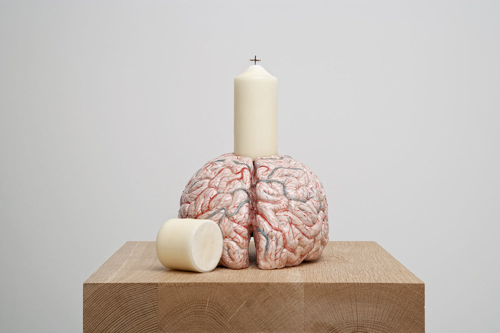 My brain, my religion , 2014, silicon, pigment, paraffin, rope, 35,5x23x32,5 cm Ph. Pat Verbruggen © Angelos bvba
