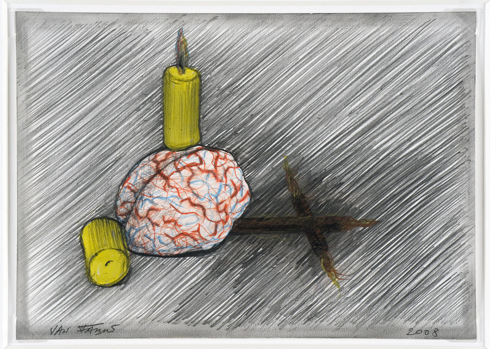 My brain as a religion , 2008, HB pencil and colour pencil on photographic paper, 12,7x17,5 cm (framed 34x38,5 cm) Ph. Mario Gastinger © Angelos bvba