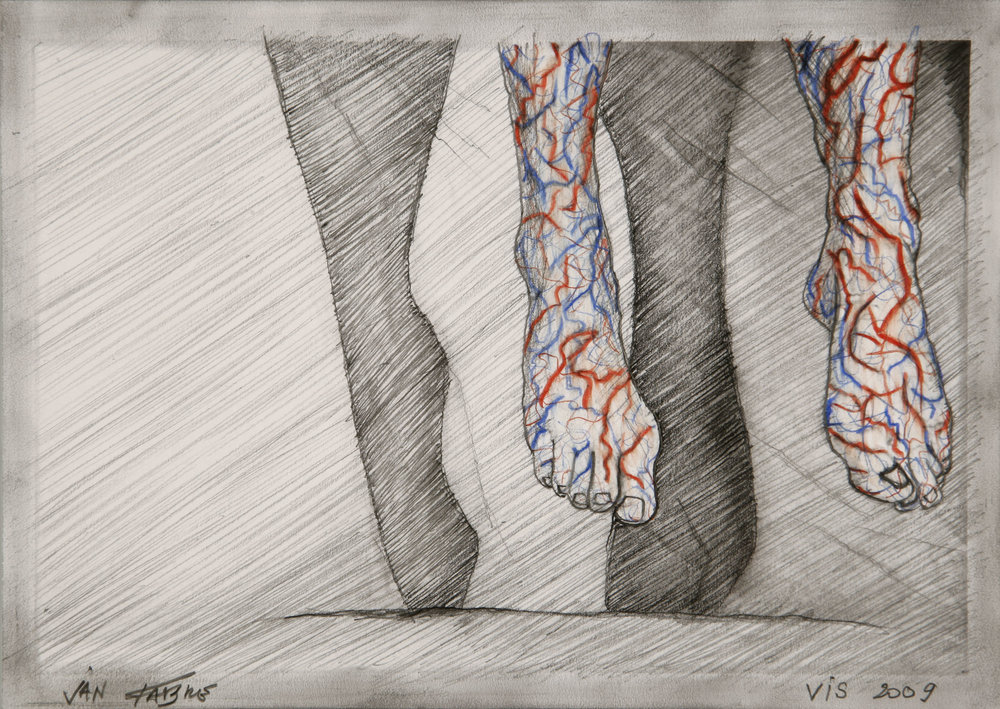 Jumping brain legs , 2009, HB pencil, colour pencil on photo paper, 12,5x17,5 cm                                                                                Ph. Pat Verbruggen © Angelos bvba