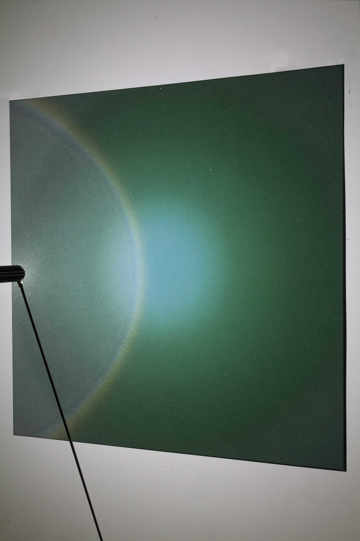 Halo , 2016, mixed media on aluminium plate, steel, led, 100x100 cm