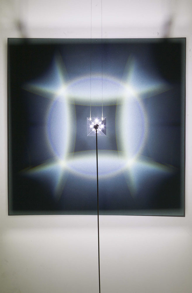 Halo , 2015, mixed media on aluminium plate, optical prism, steel, led 100x100 cm