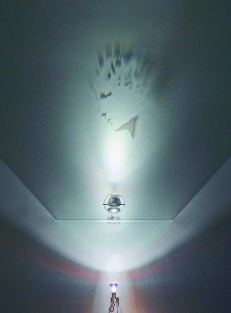 Venere , 2009, optical glass sphere, sandblasted glass, steel, halogen lamp, shadows, 107x50 cm