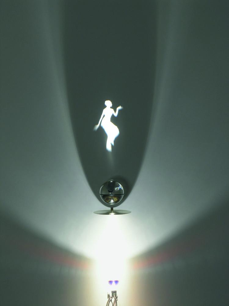 Bharatanatyam , 2007, optical glass sphere, brass disk, halogen lamp, shadow, sphere 10 cm