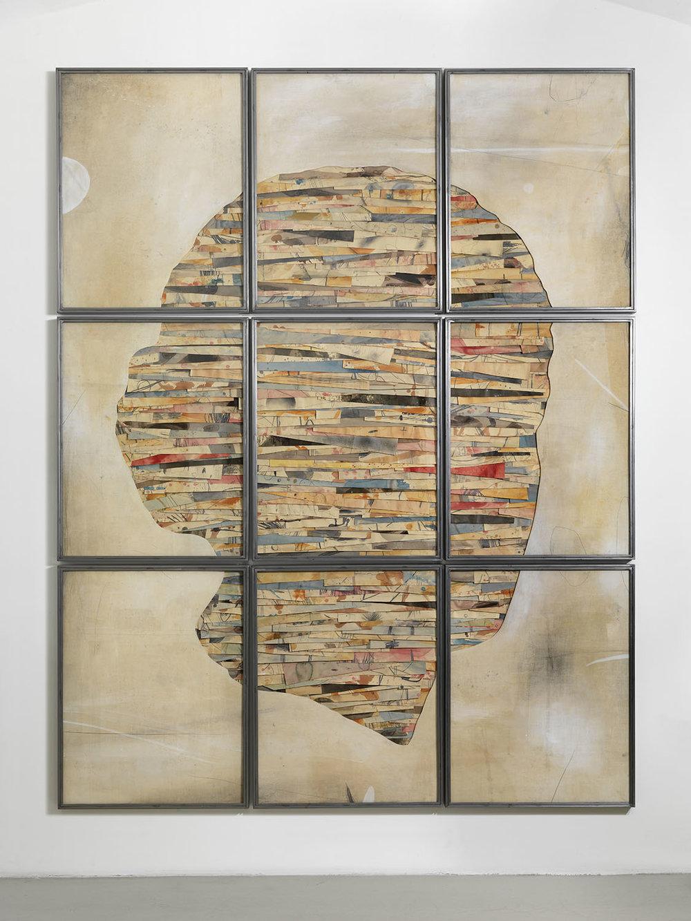 Senza titolo , 2016, tecnica mista su carta e tela, legno, ferro, vetro, cm 280×220