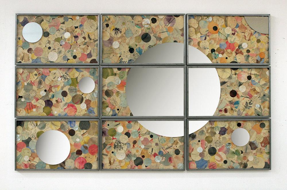 Senza titolo , 2016, tecnica mista su carta, specchio, ferro,cm 180x300