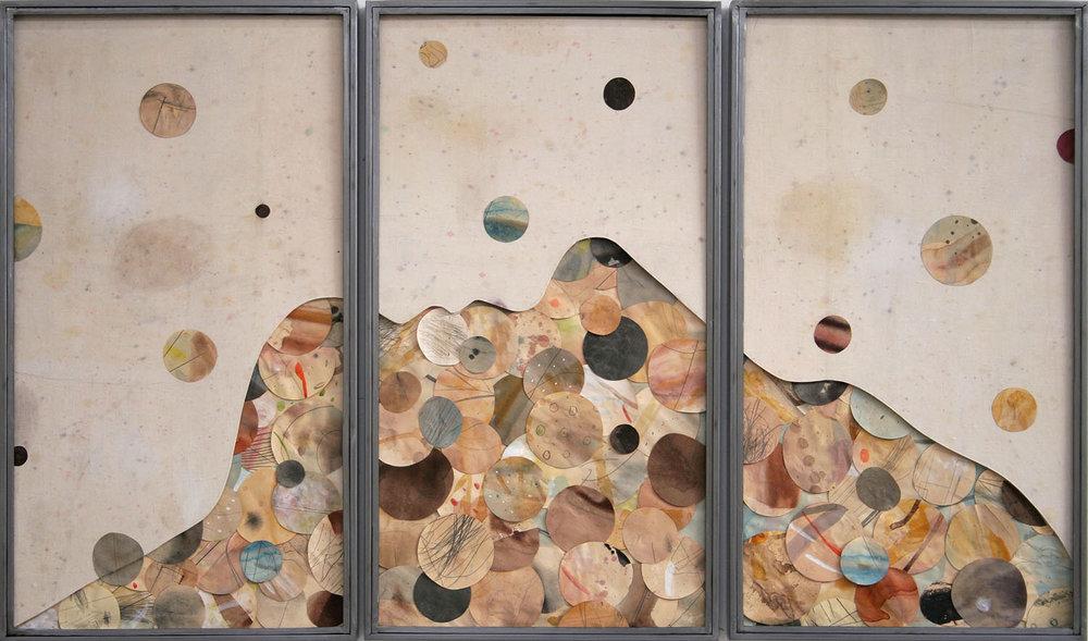 Senza titolo , 2015, tecnica mista su carta e tela, legno,ferro, vetro, cm 90x150