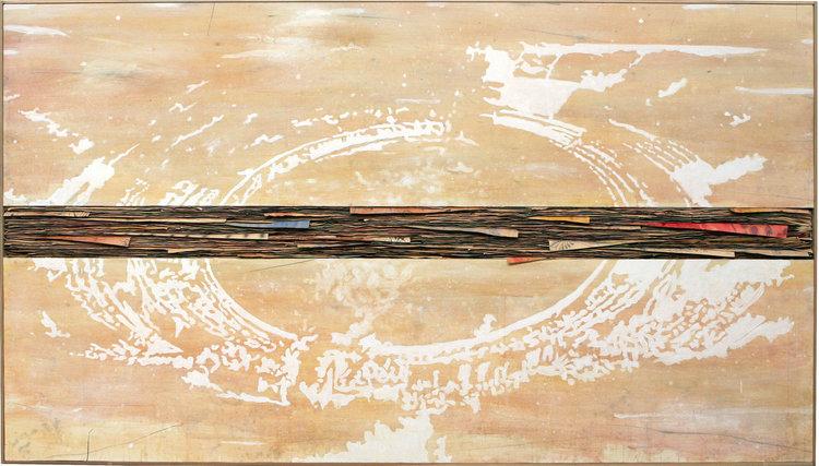Senza Titolo , 2016, tecnica mista su tela e carta, cm 140x250