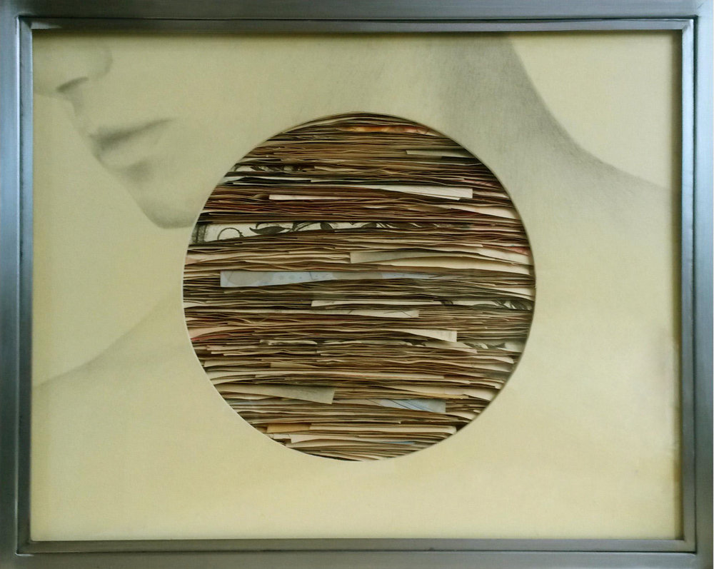 Senza titolo , 2015, grafite e tecnica mista su carta, legno, ferro, vetro cm 52x64