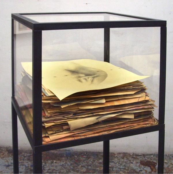 Senza titolo , 2007, tecnica mista su carta, ferro, cm 145x50x50