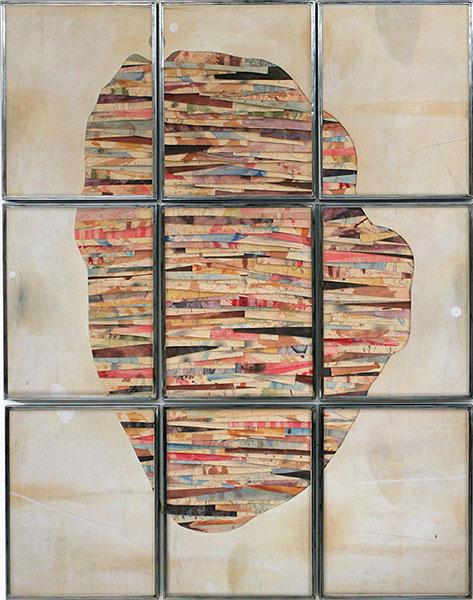 Senza titolo , 2018, tecnica mista su carta e tela su legno, ferro, vetro, 280x220 cm