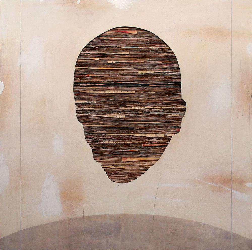 Umberto Manzo,  Senza titolo , 2018, tecnica mista su carta e tela su legno, cm 180x180