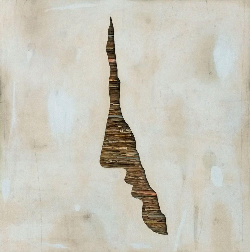 Senza titolo , 2018, tecnica mista su carta e tela su legno, cm 160x160