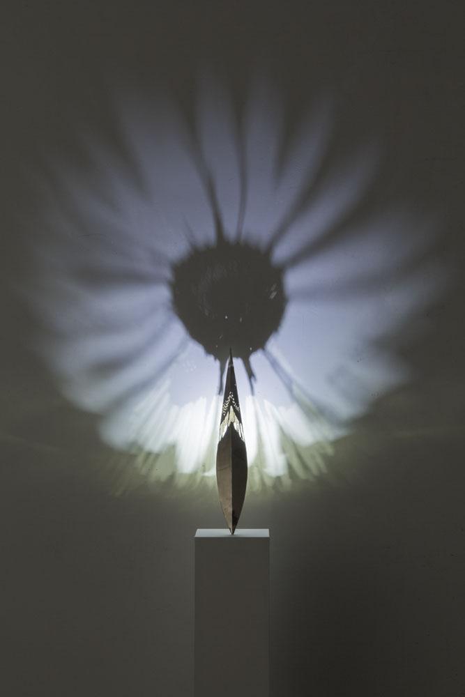 Stilo-Margherita , 2018, ottone, led, ombre, oggetto cm 60, immagine dimensioni variabili