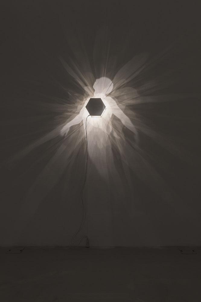 Core 1 , 2018, rame argentato tagliato e inciso, alogena, ombre, oggetto 24x28x21 cm, immagine 200x120 cm