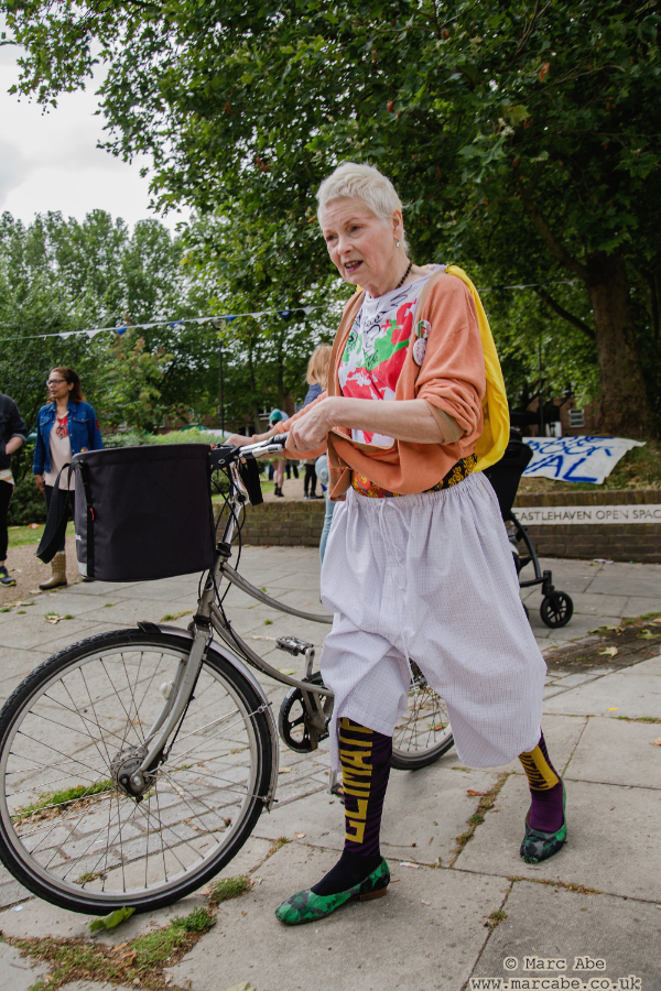 Dame Vivienne Westwood wearing Climate Revolution stockings, about to embark on her Clean Air cycle ride
