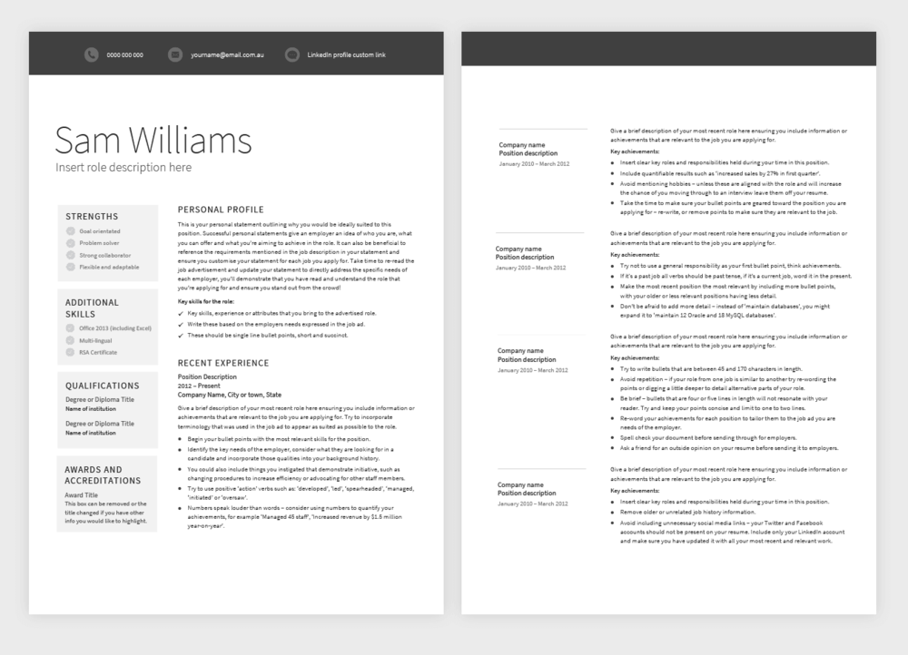 classic template pure resume