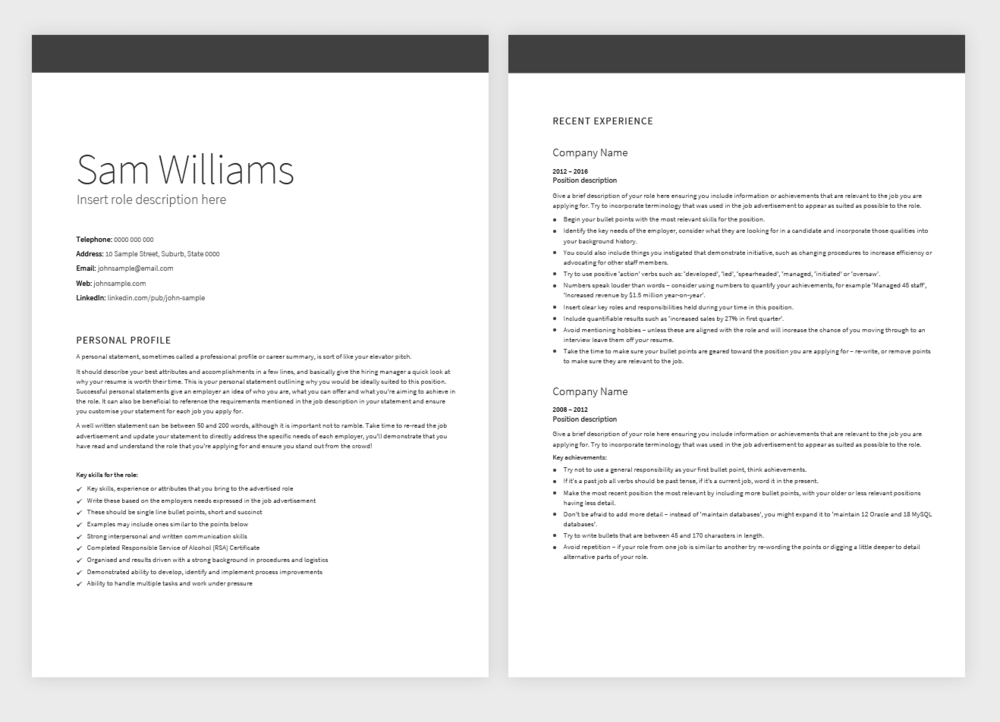 classic template  u2014 pure resume