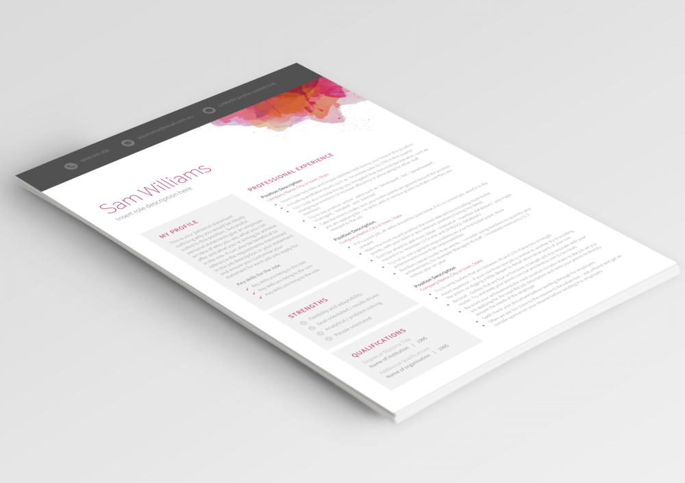 1 page resume templates Australia