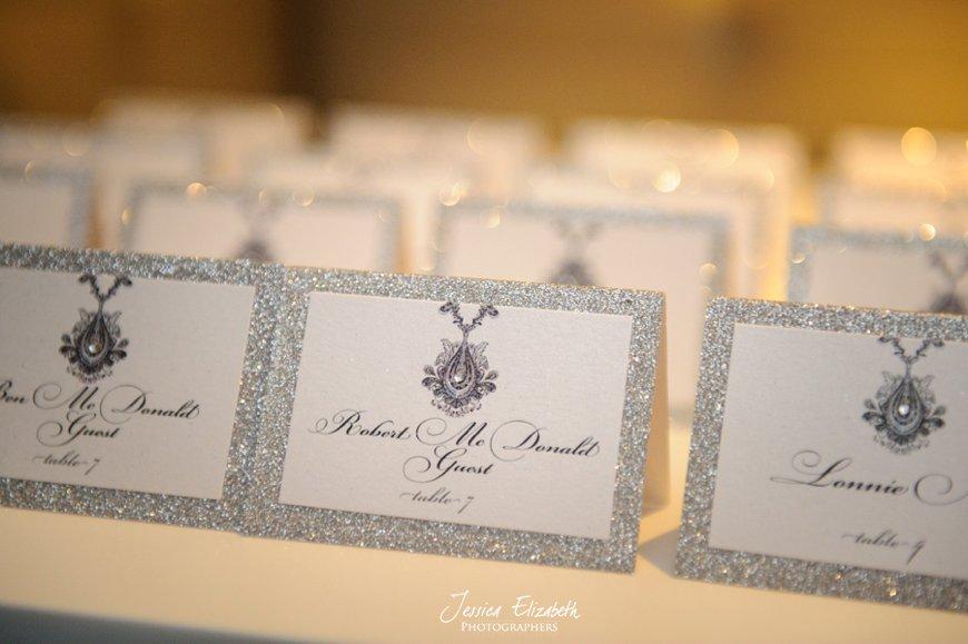 Wedding Details, Escort Cards, Glitter Wedding Details