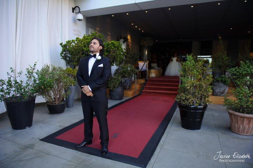 First Look, SLS Beverly Hills Wedding