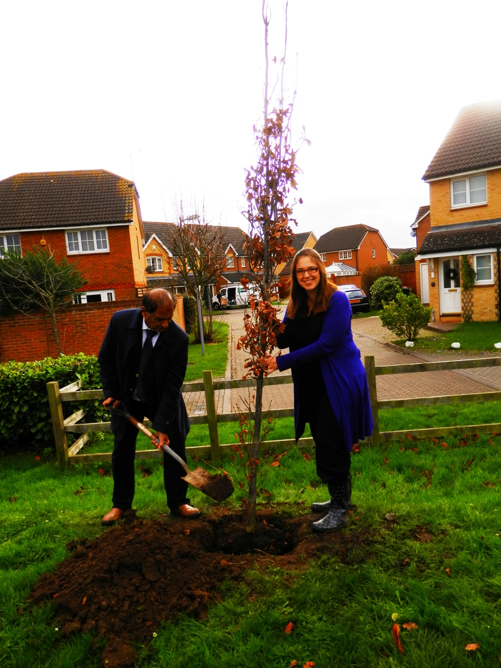 Cllr Parmar and Pantelic had the honour of planting the first of our 150 new trees