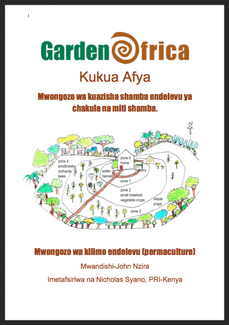 Swahili language version of GardenAfrica's guide to setting up sustainable food  and medicinal gardens