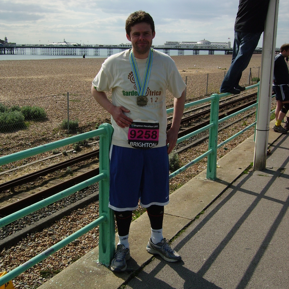 Richard Tovell after completing the Brighton Marathon.