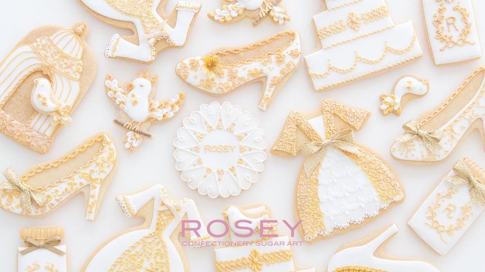 """2016デザイン """"WHITE & GOLD"""" アイシングクッキー・デコレーション 1DAYクラス レベル:★☆☆"""