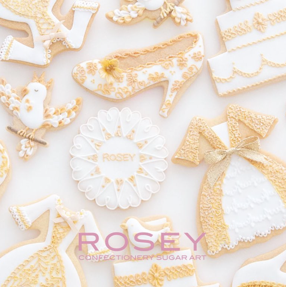 "ICING COOKIES ROSEY ANNIVERSARY LESSON - 1 ""WHITE & GOLD""  レベル:★☆☆"