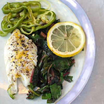 Baked Haddock with Wilted Sea Greens