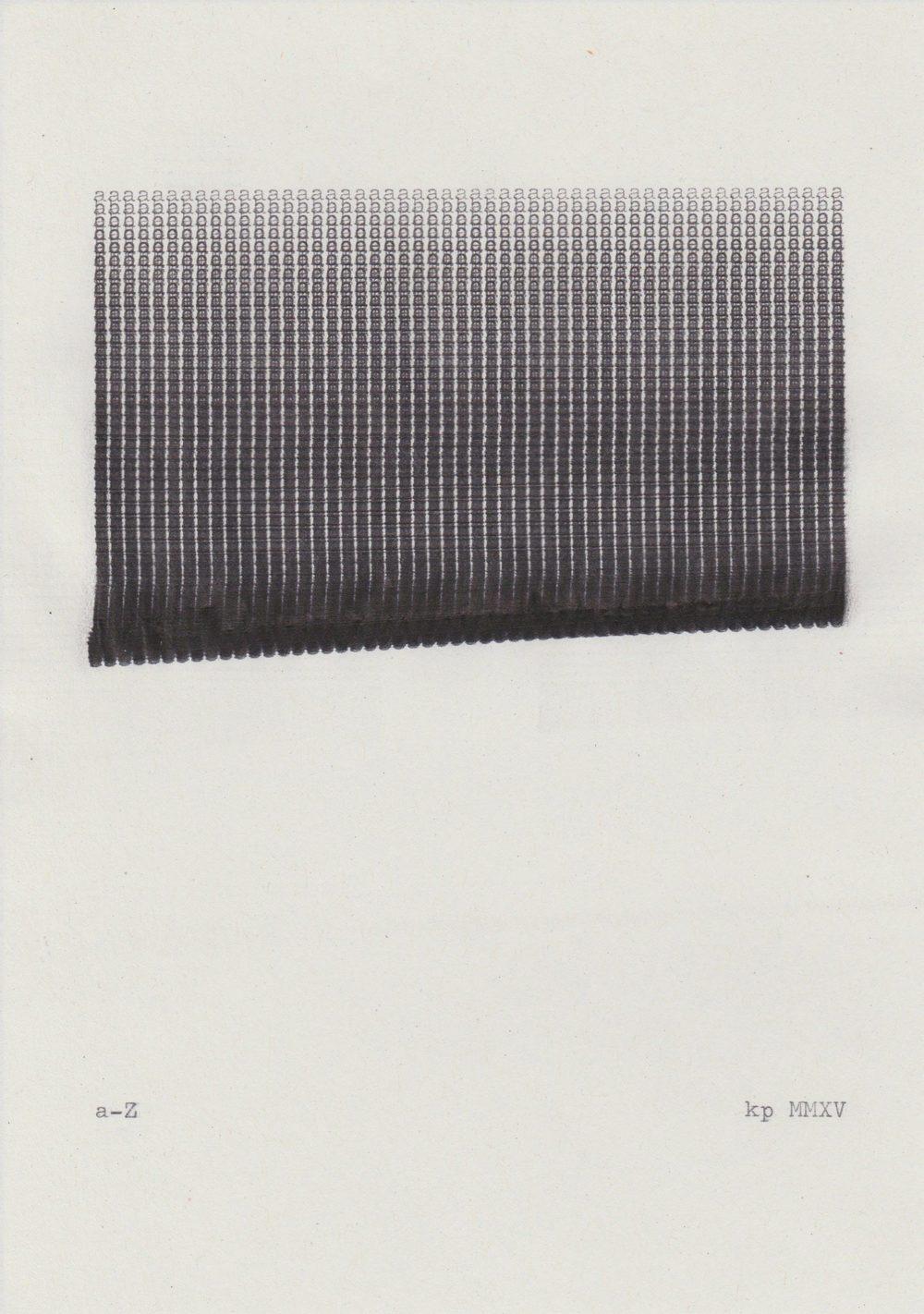 Kasper Pincis, a-Z (2015), typewriter on paper, 14.8 x 21 cm
