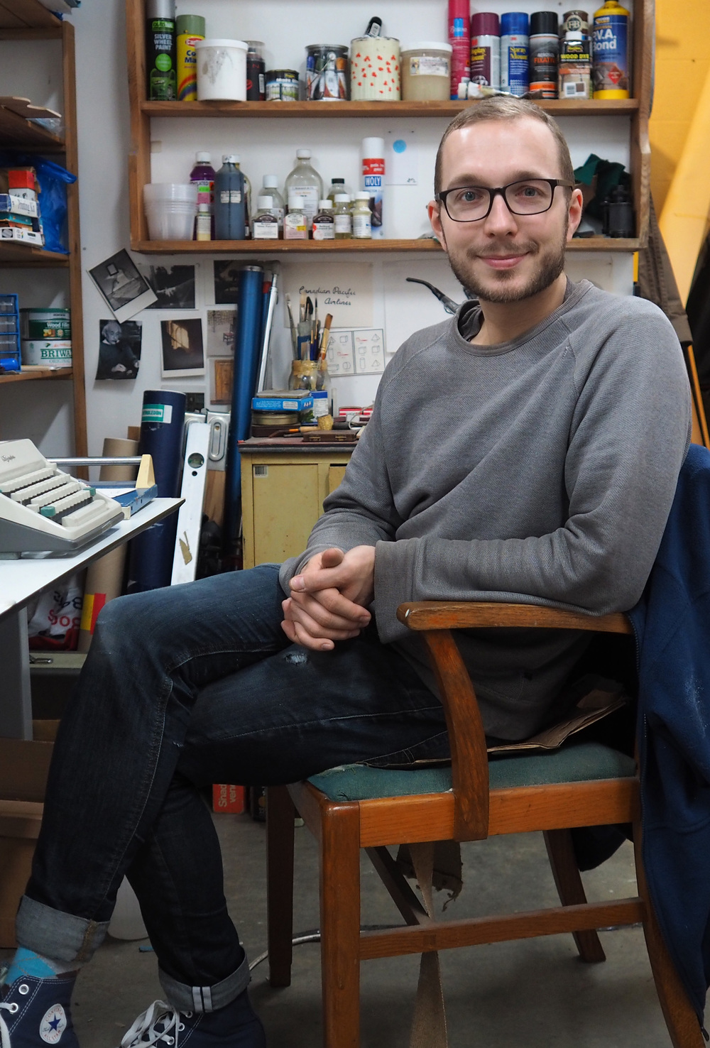 Kasper Pincis in his studio (Philip Jones, December 2015)