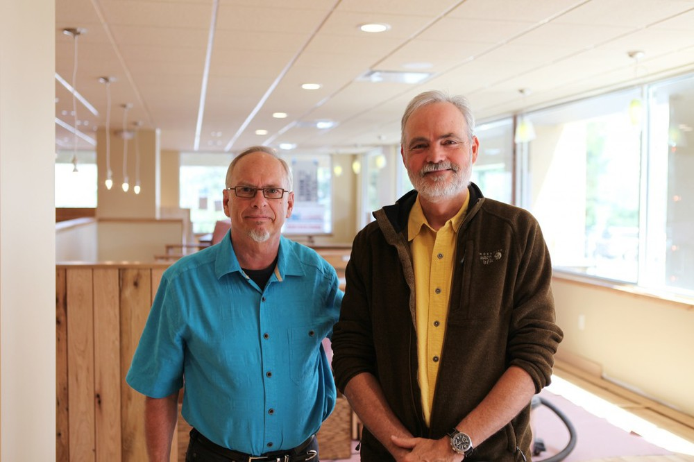 GOING FOR THREE: Renovations are nearly complete at the newest Green Sage. Co-owners Roger Derrough, left, and Randy Talley, right, are pictured inside the dining area. Photo by Jayson Im