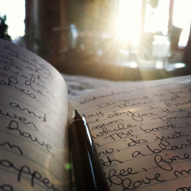 Journaling with the rising sun.