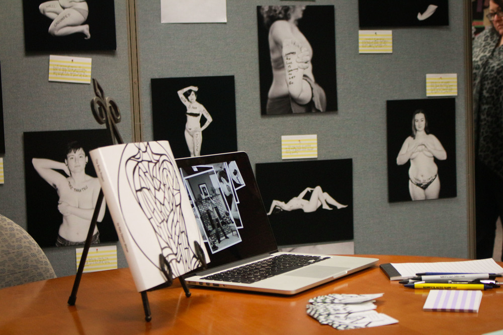 A little glimpse of The Body Project mini gallery setup at UW-Waukesha. Candids of this event by Kasey K. Photo.