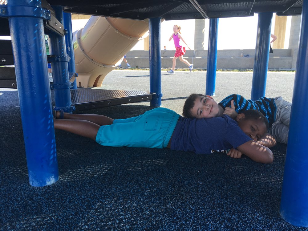 The playground, situated on Nantasket Beach, had this relaxing of an effect on some usually energetic kids.