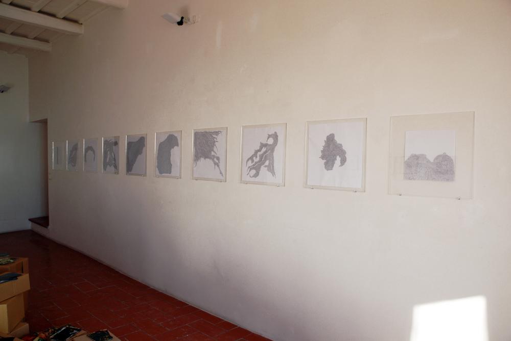 (Installation view) Black ballpoint pen on paper, 2013. Legami Deboli, Amedeo Abello & Cinzia Delnevo, 2013/ 2014, Galleria Cinica, Palazzo Lucarini, Trevi (Perugia) Italy.