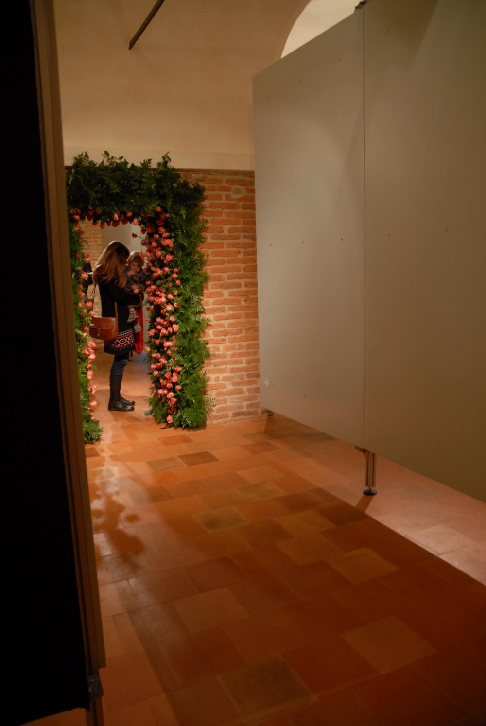 (Detail of the Installation on 16th October 2010)Still life (natura morta) a passage /Still life (natura morta) un passaggio,2010.Oltre lo specchio, curated by Elisabetta Modena,Castle of Pico, Mirandola (Modena) Italy.
