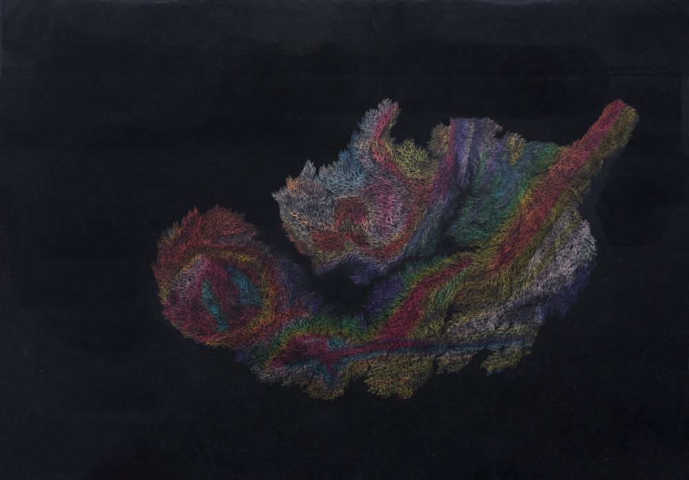 Needle on oil pastels on paper, 2014 42 x 59.4 cm