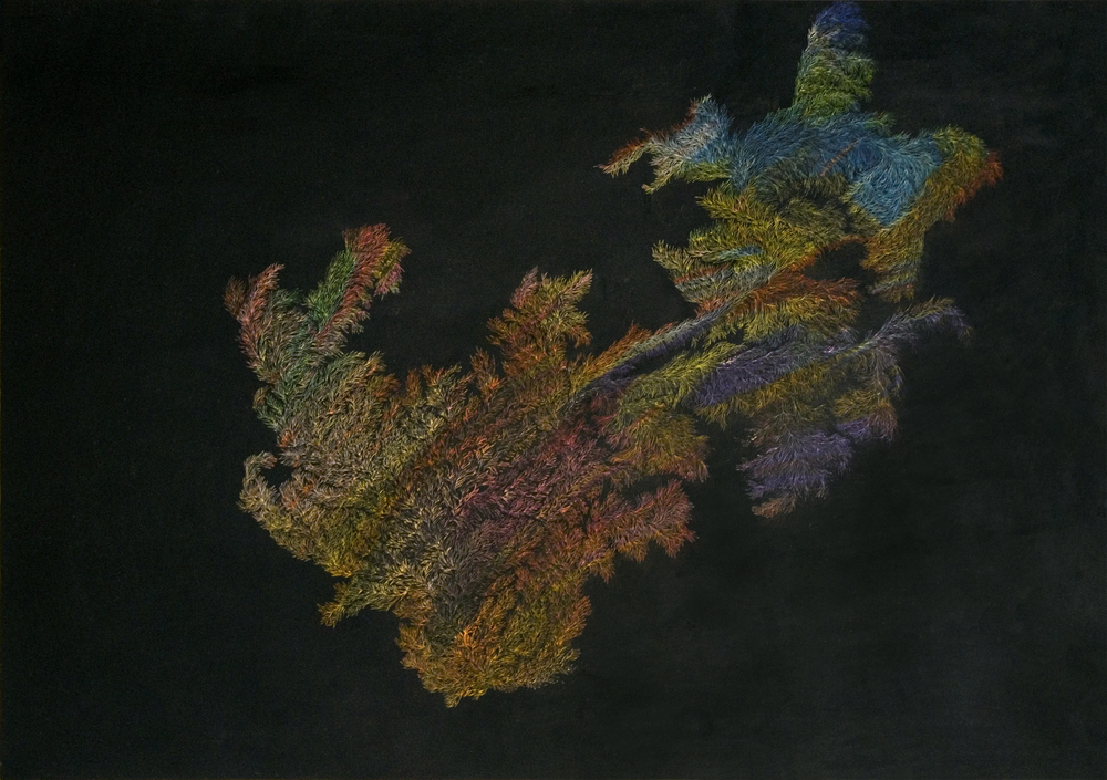 Pastels on Paper ,  Oil on Needle , 2014. (59.4 x 84 cm)