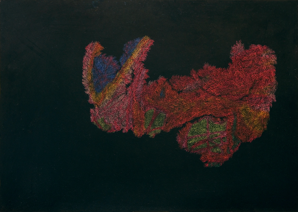 Pastels on Paper, Oil on Needle, 2014 42 x 59.4 cm