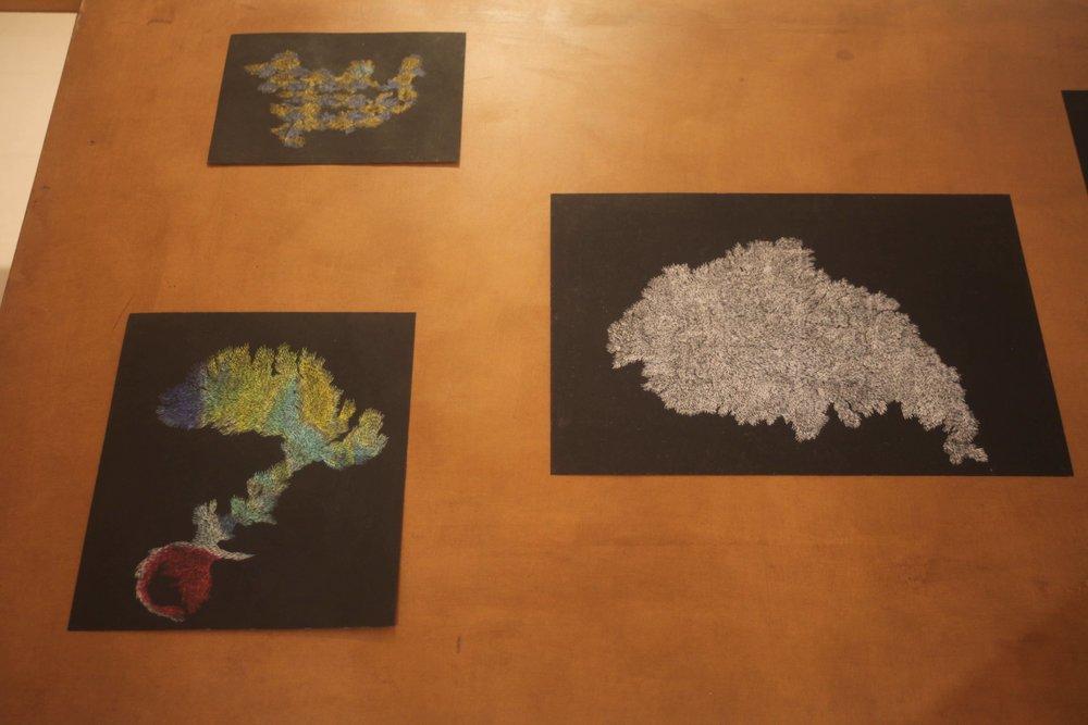 Pastels on Paper, Oil on Needle, 2017 Installation View during Quelque chose comme le dessin at L'Entrepôt Daniel Boeri Gallery, Monaco, MC. From top left clockwise:23,6 x 17,4cm,29.7 x 42 cm,24,9 x 29,6 cm,29.7 x 42 cm