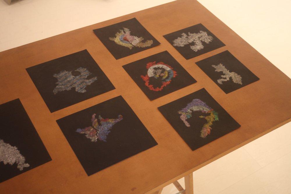 Pastels on Paper, Oil on Needle, 2017 Installation View during Quelque chose comme le dessin at L'Entrepôt Daniel Boeri Gallery, Monaco, MC. From top left to bottom right: 24,9 x 25 cm,25 x 25 cm,(x3)20,8 x 21 cm,17,5 x 20,5 cm,17 x 19,5 cm