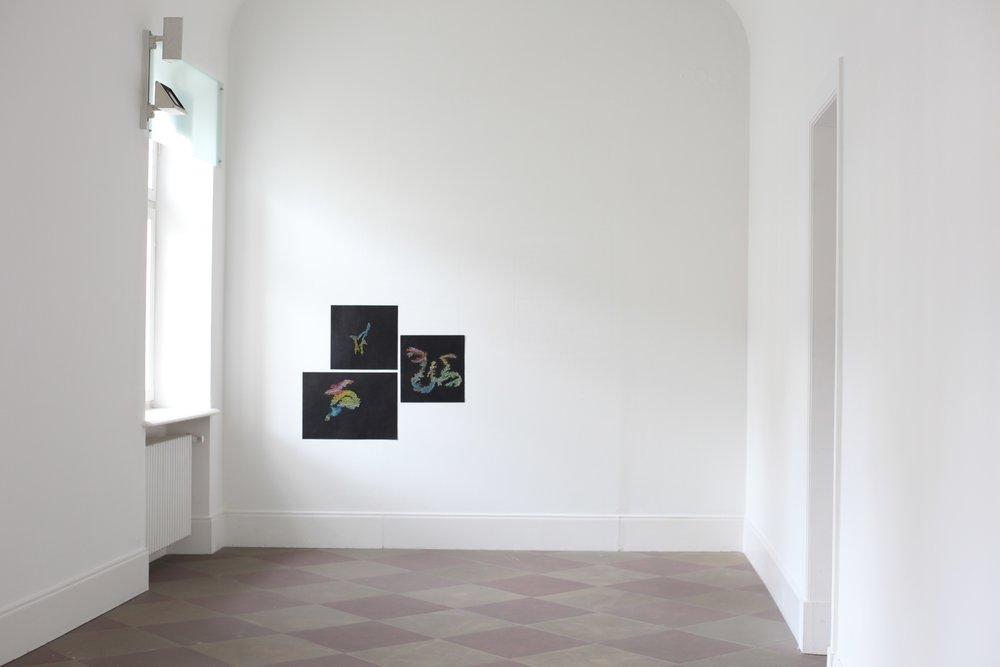 Pastels on Paper, Oil on Needle, 2016 Akademie Schloss Solitude, Stuttgart, DE From top left clockwise 59,4 x 59,4 cm,59,4 x 59,4 cm,59,4 x 84,1 cm