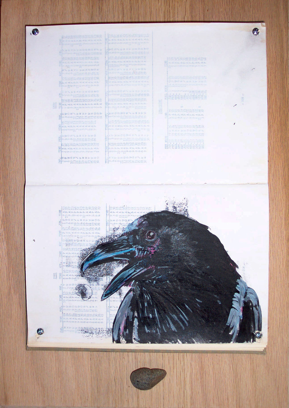 As the Crow Flies (pt. 3). 2008. Altered book, transfer print, oil paint illustration, gesso, screws, oak. -